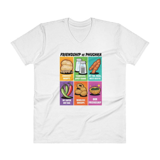 White / S Bengali Lightweight Fashion V-Neck T-Shirt - Phuchka and Friends