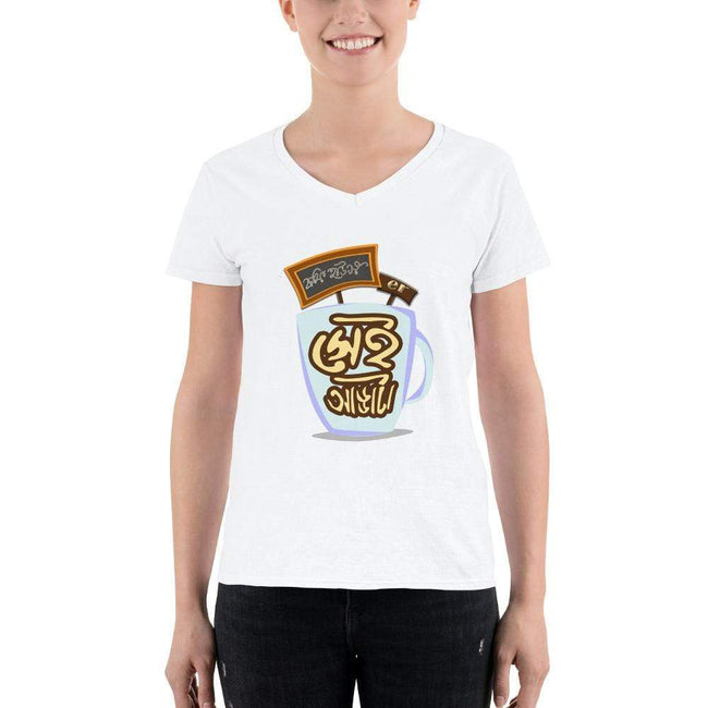 White / S Bengali Lightweight V-Neck T-Shirt - Coffee House Er Sei Adda