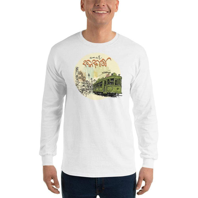 White / S Bengali Ultra Cotton Long Sleeve T-Shirt - Amar Kolkata Tram