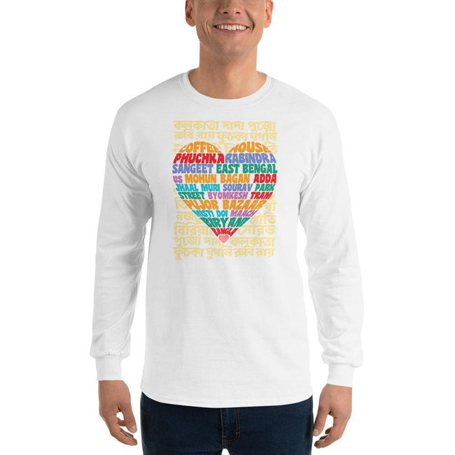 White / S Bengali Ultra Cotton Long Sleeve T-Shirt - Bangla Love