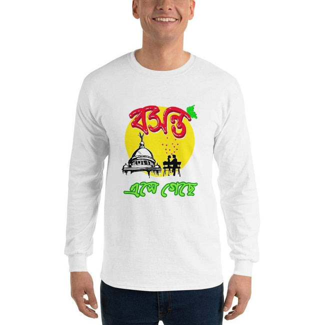 White / S Bengali Ultra Cotton Long Sleeve T-Shirt - Bosonto Ese Gache