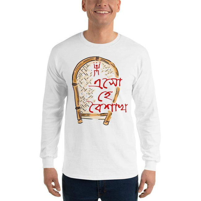 White / S Bengali Ultra Cotton Long Sleeve T-Shirt - Eso He Baishakh
