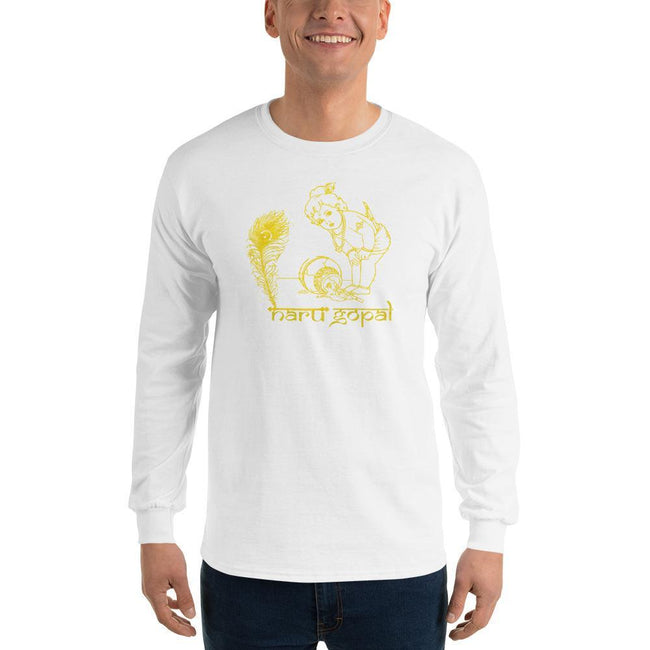 White / S Bengali Ultra Cotton Long Sleeve T-Shirt - Naru Gopal