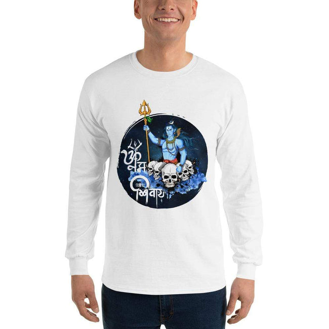 White / S Bengali Ultra Cotton Long Sleeve T-Shirt - Om Namah Shivay-01
