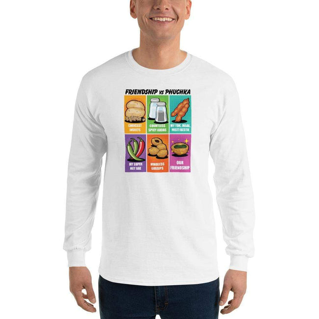 White / S Bengali Ultra Cotton Long Sleeve T-Shirt -Phuchka and Friends