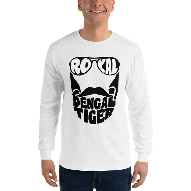 White / S Bengali Ultra Cotton Long Sleeve T-Shirt - Royal Bengal Tiger