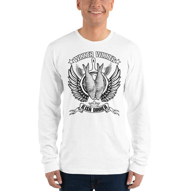 White / S Bengali Unisex Fine Jersey Long Sleeve T-Shirt - Winner Winner Ilish Dinner