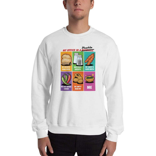 White / S Bengali Unisex Heavy Blend Crewneck Sweatshirt -Office Phuchka