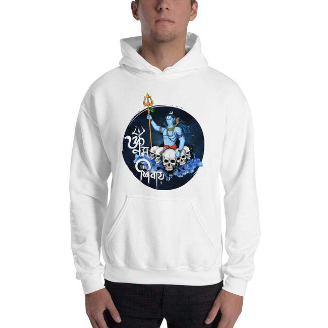 White / S Bengali Unisex Heavy Blend Hooded Sweatshirt - Om Namah Shivay-01