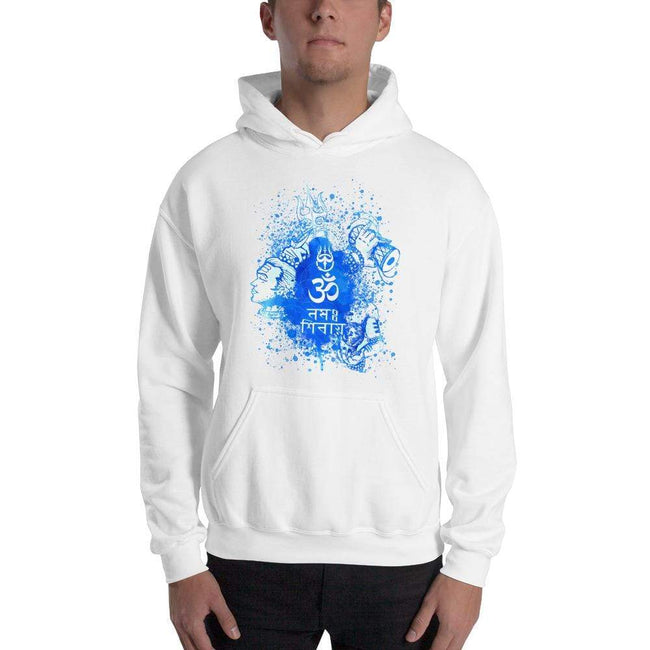 White / S Bengali Unisex Heavy Blend Hooded Sweatshirt - Om Namah Shivay-03