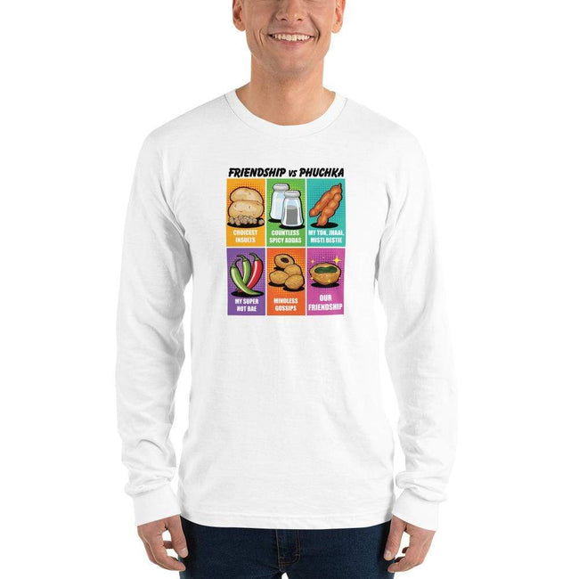 White / S Long Bengali Unisex Fine Jersey Long Sleeve T-Shirt - Phuchka and Friendst-shirt