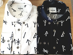 Younger Futhark Runes Button Down Cotton Shirt