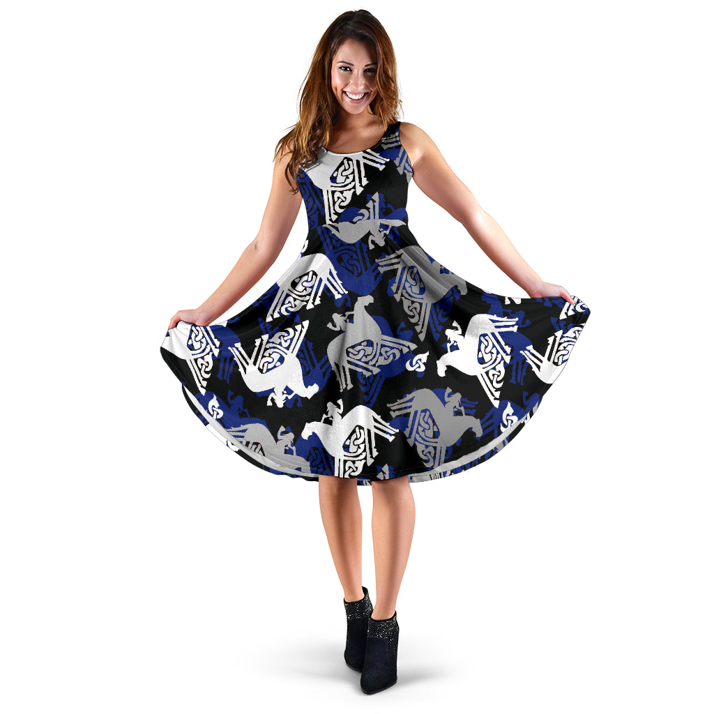 Sleipnir Flared Midi Dress with pockets - Black/Blue
