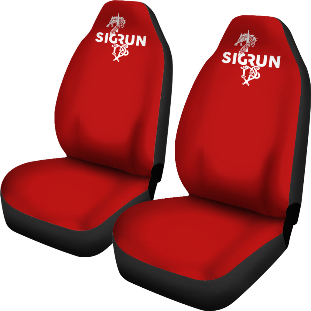 Deep Red Sigrun Wolf Mjolnir Car Seat Covers