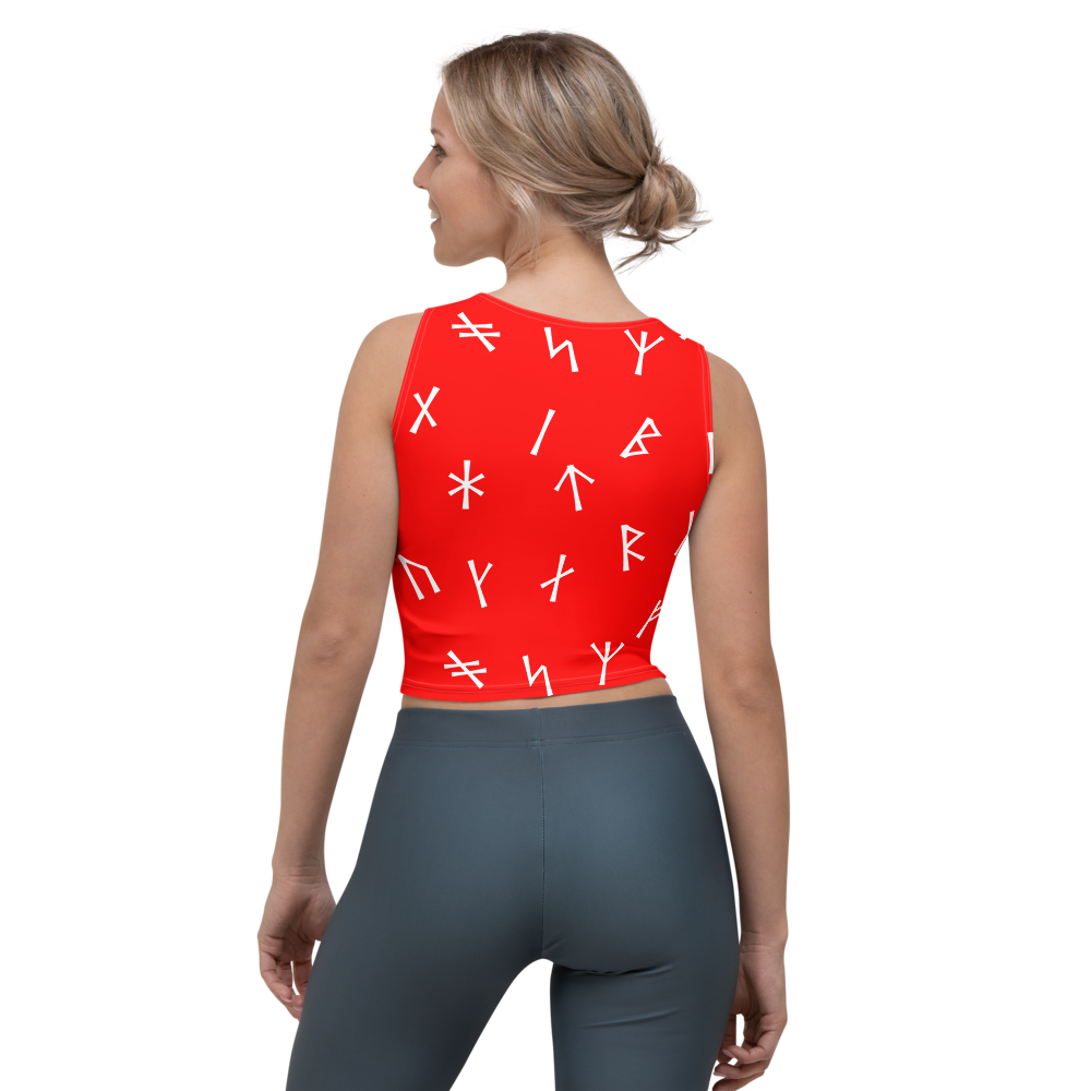 Red Younger Futhark Runic Crop Top