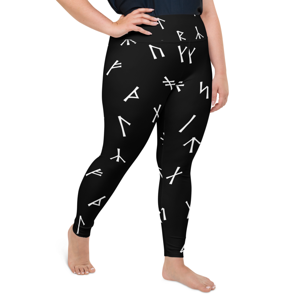 Norsewoman Younger Futhark Plus Size Black Leggings