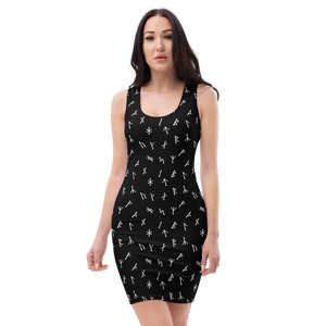 Younger Futhark Runic Black Bodycon Dress
