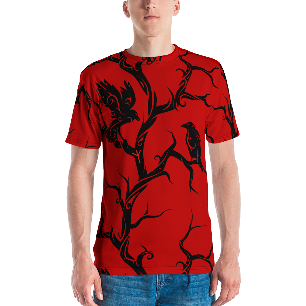 Red Huginn and Muninn Short Sleeve Men's T-shirt