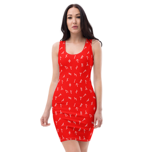 Younger Futhark Runic Red Bodycon Dress