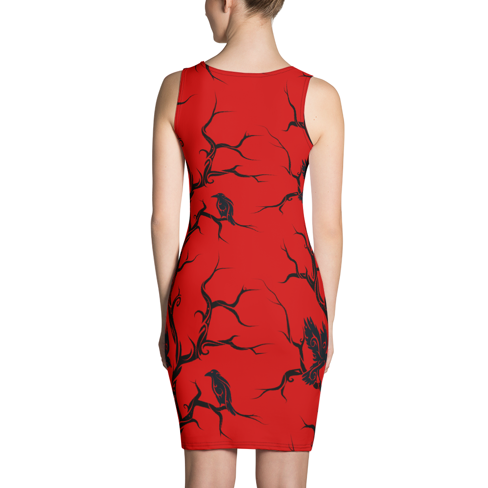 Red Huginn and Muninn Bodycon Dress