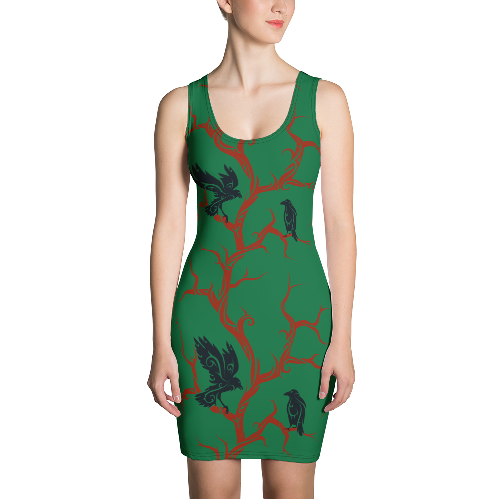 Green Huginn and Muninn Bodycon Dress