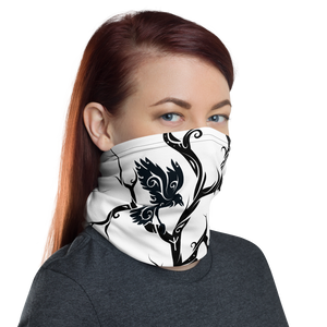 White Huginn and Muninn Unisex Neck Gaiter / Face Cover