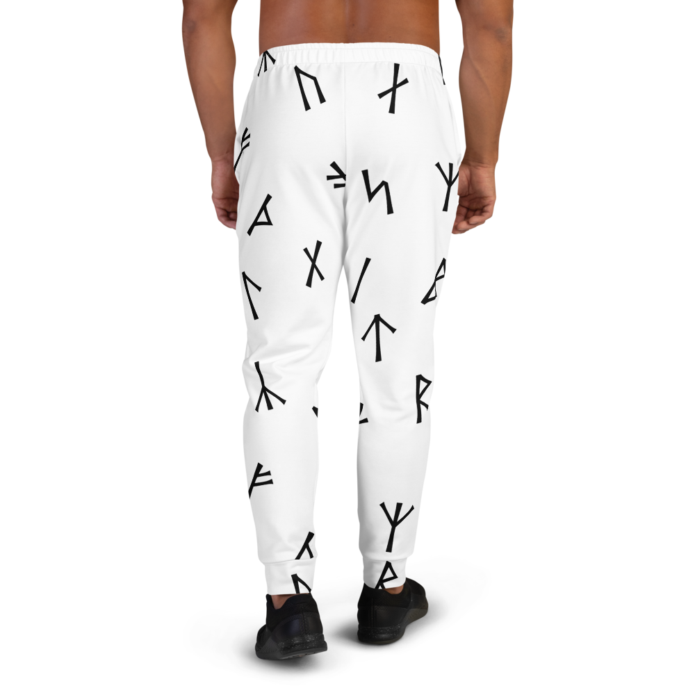 White Younger Futhark Runic Joggers