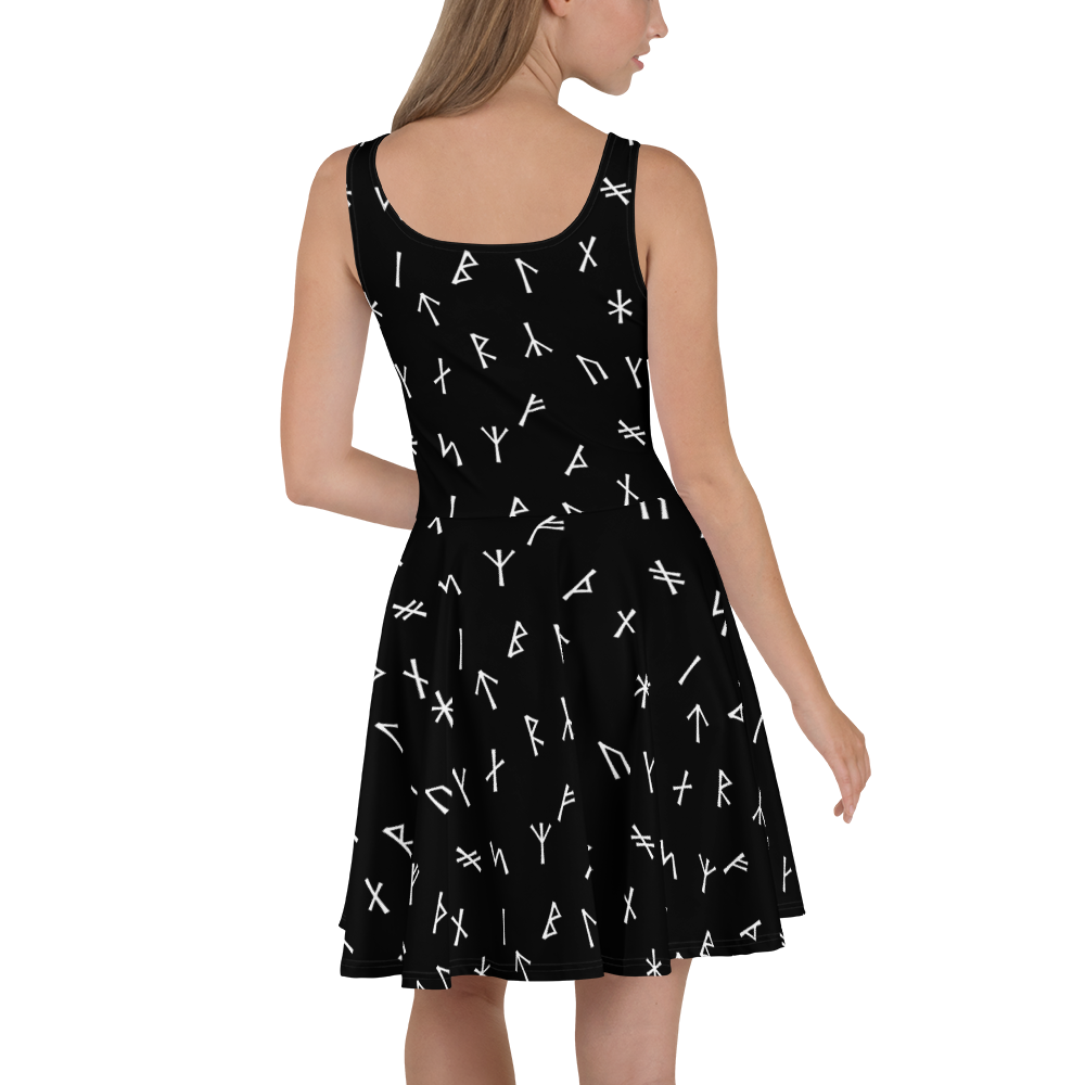 Black Younger Futhark Runic Skater Dress - up to size 22