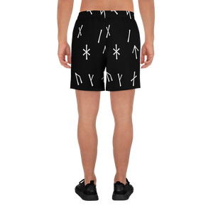 Black Younger Futhark Athletic Long Shorts