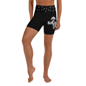 Black Icelandic Mjolnir Yoga Shorts