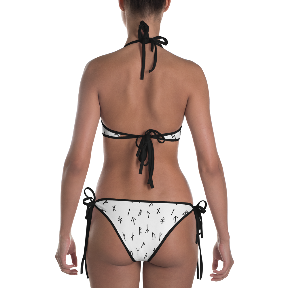White Younger Futhark Runic Bikini - up to size 20-22 (3XL)