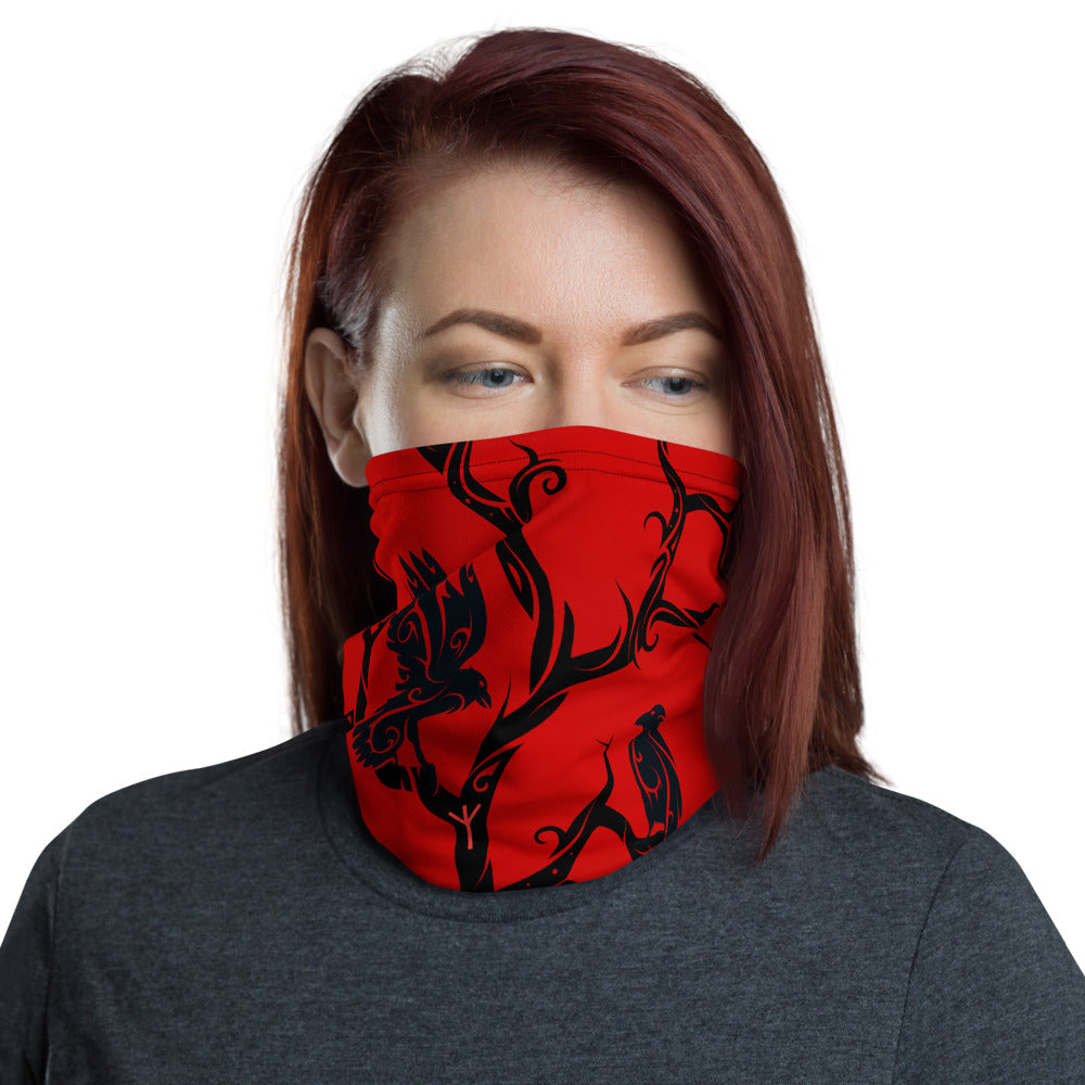 Red Huginn and Muninn Unisex Neck Gaiter / Face cover
