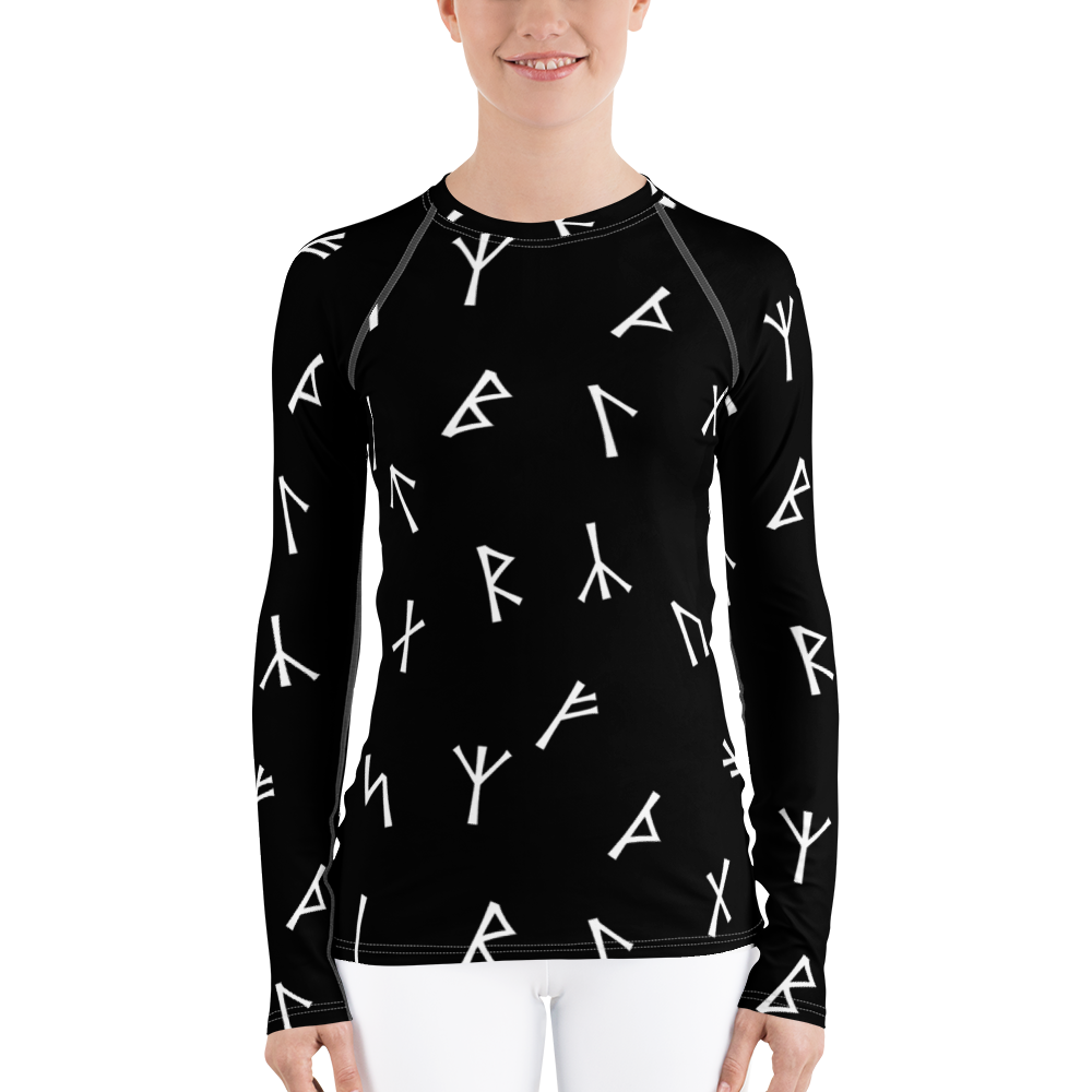Black Younger Futhark Runic Women's Rash Guard