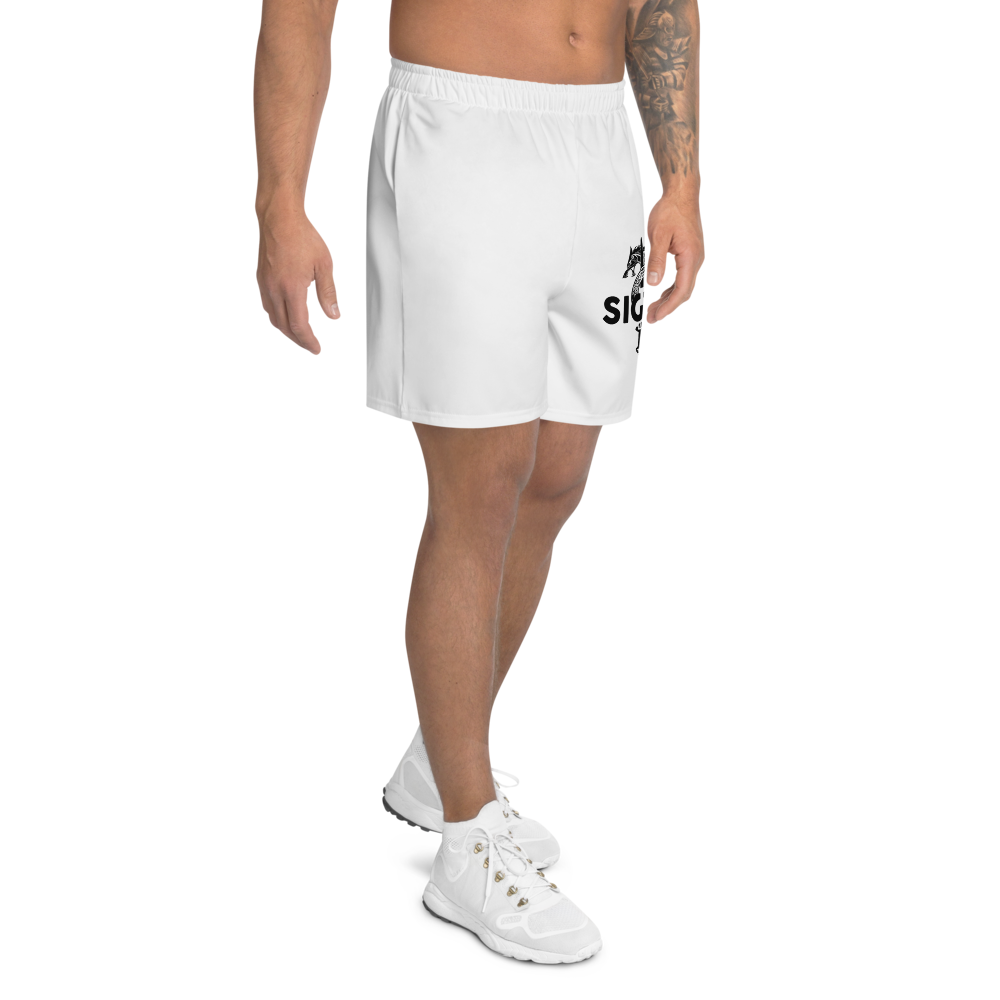White Sword and Icelandic Wolf Mjolnir Athletic Long Shorts