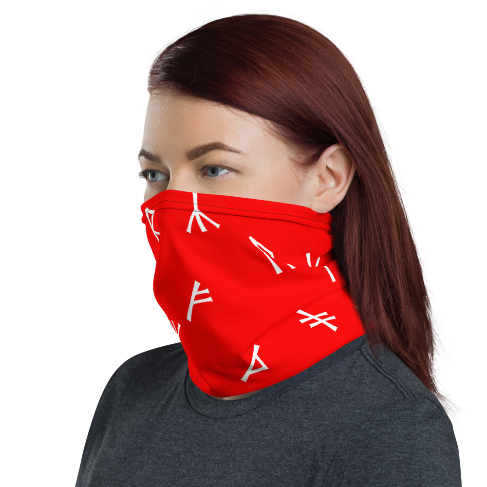 Younger Futhark Runic Red Neck Gaiter
