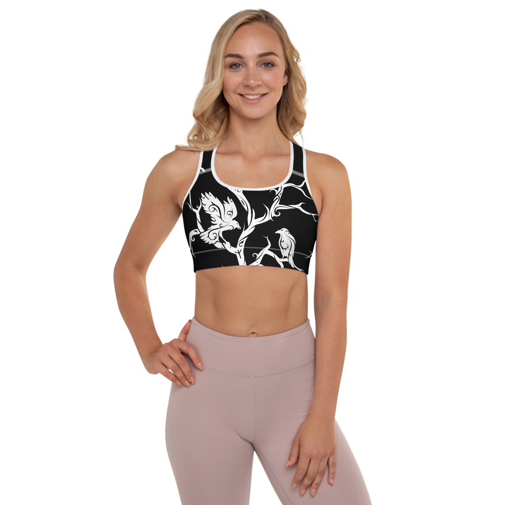 Black Huginn and Muninn Padded Sports Bra - up to size 18