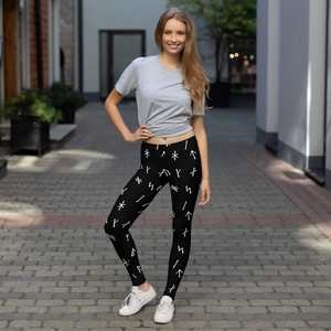 Younger Futhark Runic Black Leggings