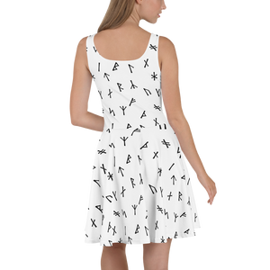 White Younger Futhark Runic Skater Dress - up to size 22