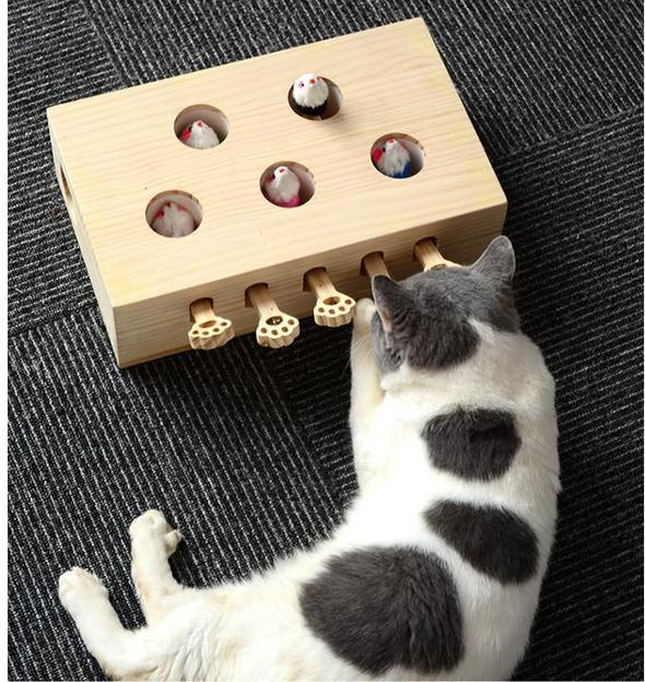 Wood Whack-A-Mouse Cat Toy - 5 Holes(Square)