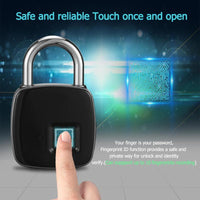 Fingerprint Padlock Smart Fingerprint Lock IP66 Waterproof Dustproof Design Keyless Anti-theft Padlock Suitcase Door Lock