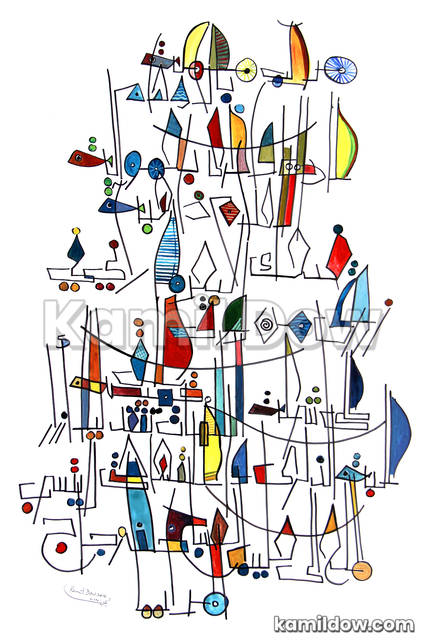 Boats – Arabic Calligraphy Art by Kamil Dow