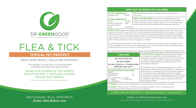 DR GREENGOOD™ | Flea and Tick | Topical Pet Protect 90 | 16 oz. (Ready to Use)