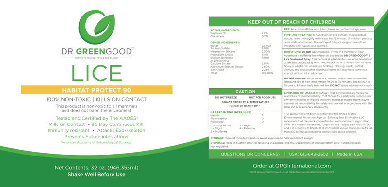 DR GREENGOOD™ | Lice | Habitat Protect 90 | 32 oz. (Ready to Use)