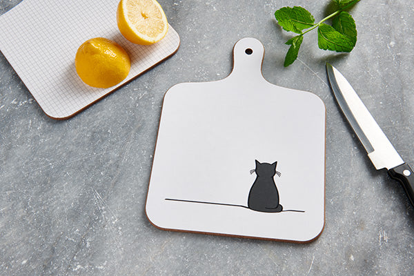 Cat Mini Chopping Board with Lemon and Mint