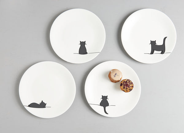Cat Side Plates, Set of Four