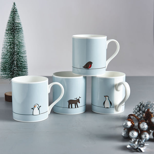 Winter Collection Mugs, Mixed Set of Four