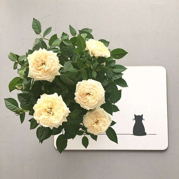 Flowers on Sitting Cat Placemat