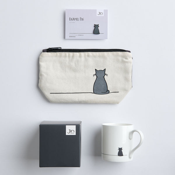 Cat Lover Gift Bundle with mug, pin and zip bag