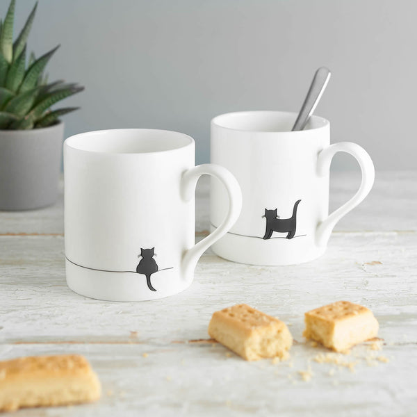 Standing Cat and Crouching Cat Mug, Set of Two