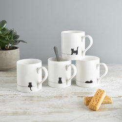 Cat Mugs, Set of Four Fine Bone China Mugs